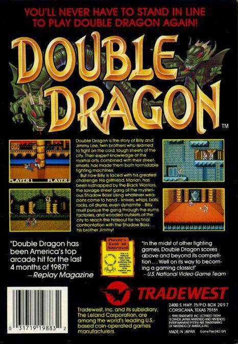 Bmh Computers Gamers Paradise Nintendo Entertainment System Games Double Dragon